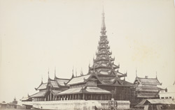Entrance to King's Palace at Mandalay, with 'pyahthat' or turreted-repetition roof surmounting public Throne Room